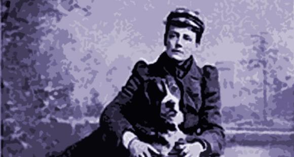 Ethel Smyth y su inseparable perro Marco.
