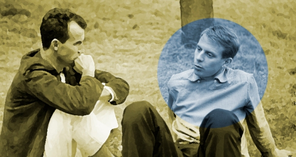Luigi Nono y Karlheinz Stockhausen (destacado en azul) en Darmstadt, 1957.