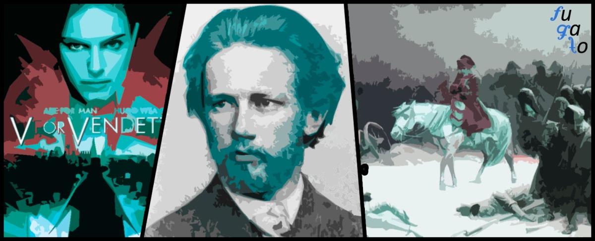"""Cartel de la película """"V de Vendetta"""", Piotr Ilich Chaikovski y cuadro """"La retirada de Napoleón de Rusia"""" de Adolph Northen."""