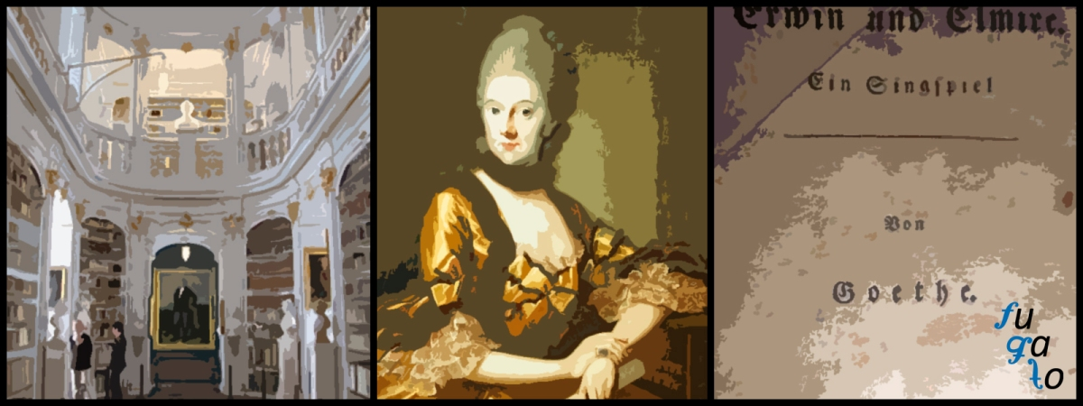 "Biblioteca de la duquesa Anna Amalia, Duquesa Anna Amalia von Braunschweig-Wolfenbüttel y ""Erwin und Elmire"" de Goethe."
