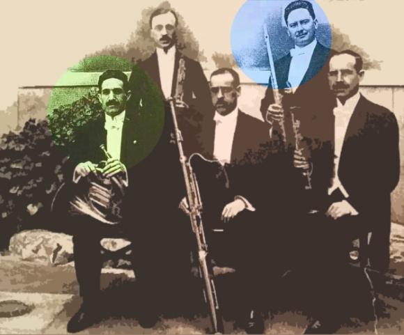 Quinteto de viento: Álvaro Mont (verde) y Manuel Garijo (azul).