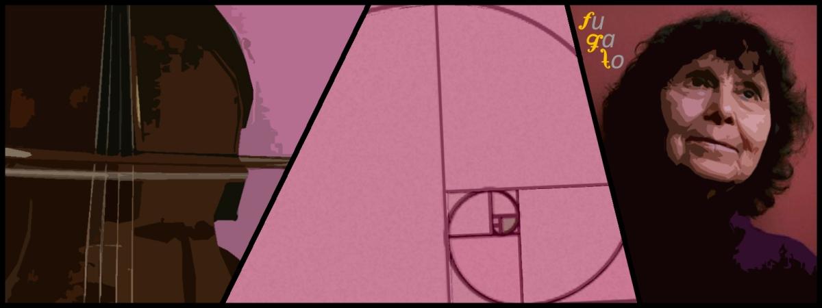 Arco de cello formando una cruz según las indicaciones de Gubaidúlina, espiral de Fibonacci y Sofiya Gubaidúlina.