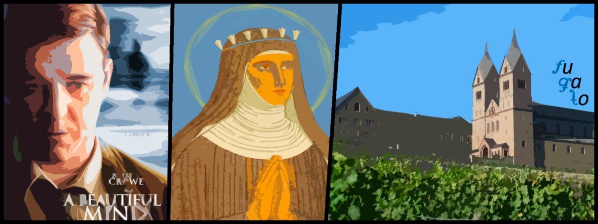 """Cartel de la película """"Una mente maravillosa"""", Hildegard von Bingen y Abadía de Santa Hildegarda en Eibingen."""