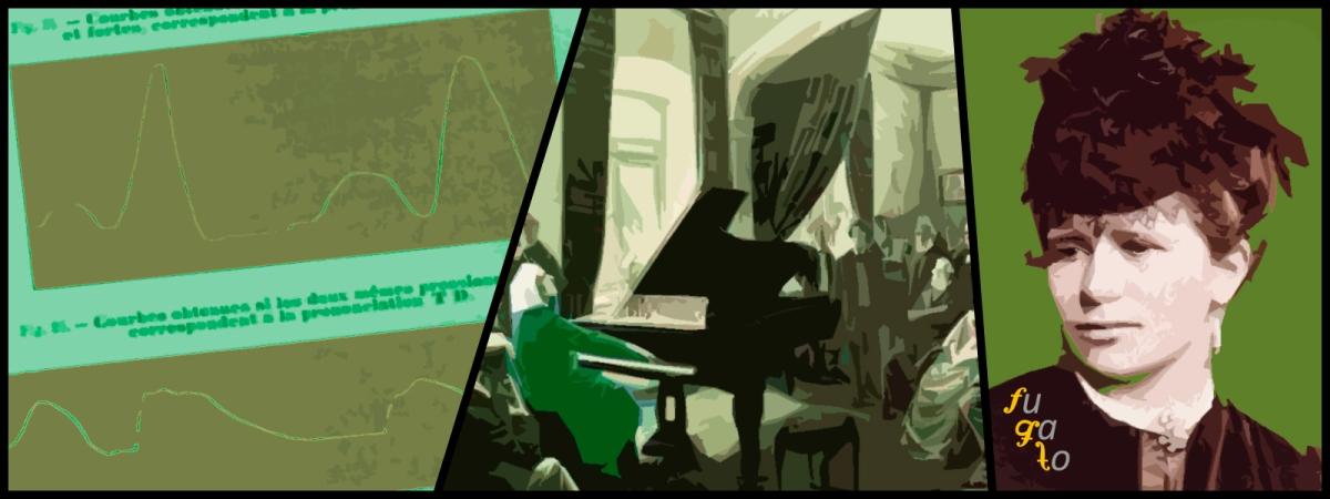 Gráficos sobre señales cerebrales de Marie Jaëll, Franz Liszt deleitando a su audiencia y Marie Jaëll.