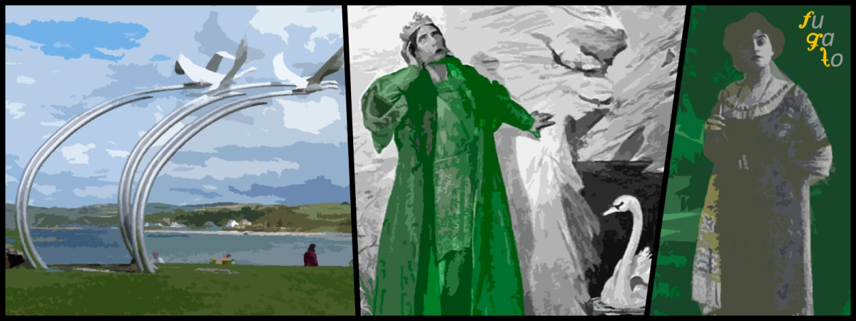 """Escultura sobre los hijos de Lir en Ballycastle (Irlanda del Norte), """"Lêr and the Swans"""" de H. R. Millar y Adela Maddison."""