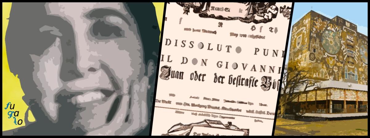 """Sofía Cancino de Cuevas, cartel original del estreno de la ópera de Mozart """"Don Giovanni"""" y Universidad Nacional Autónoma de México."""